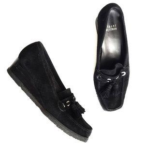Stuart Weitzman Cardona Black Suade Wedge Loafer